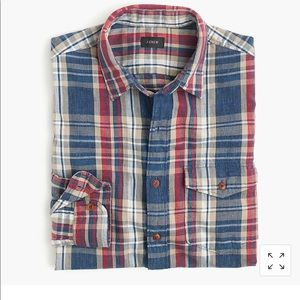 Slim Heathered Slub Cotton Shirt in Blue Plaid